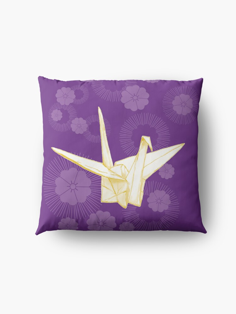 Alternate view of Paper Crane and Cherry Blossoms Floor Pillow