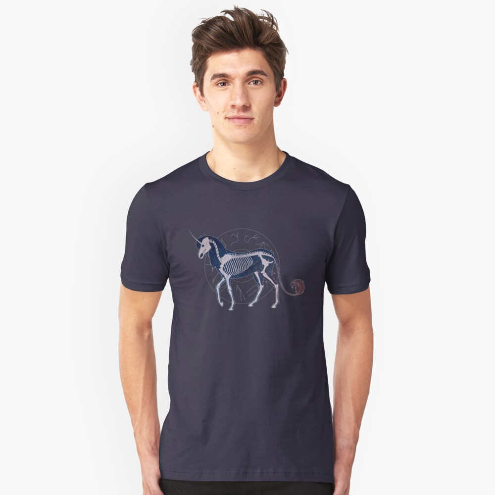 Galaxy Skeleton Unicorn Slim Fit T-Shirt