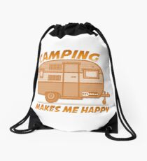 Camping Makes Me Happy Drawstring Bag