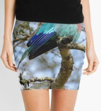Lilac Breasted Roller On A Chilly Morning Mini Skirt