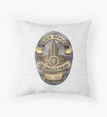 Los Angeles Police Department - LAPD Police Officer Badge over White Leather Throw Pillow