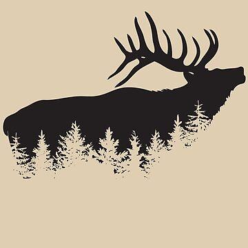 Deer and Evergreens Hunting by LemonRindDesign