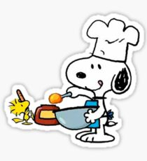 Snoopy and Woodstock cooking - Sticker Sticker