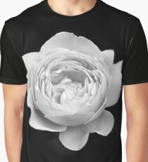 White Open Rose Graphic T-Shirt