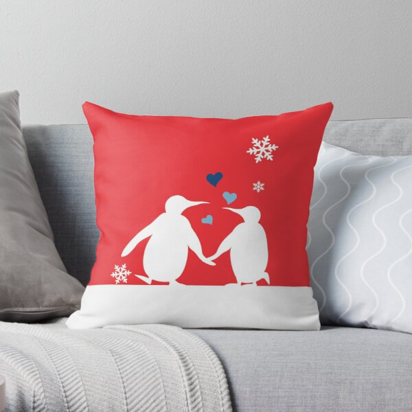 Penguin Couple Red Heart Love Snow Throw Pillow