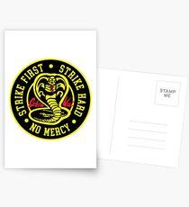 Cobra Kai Strike Hard Strike Zuerst keine Gnade Postkarten