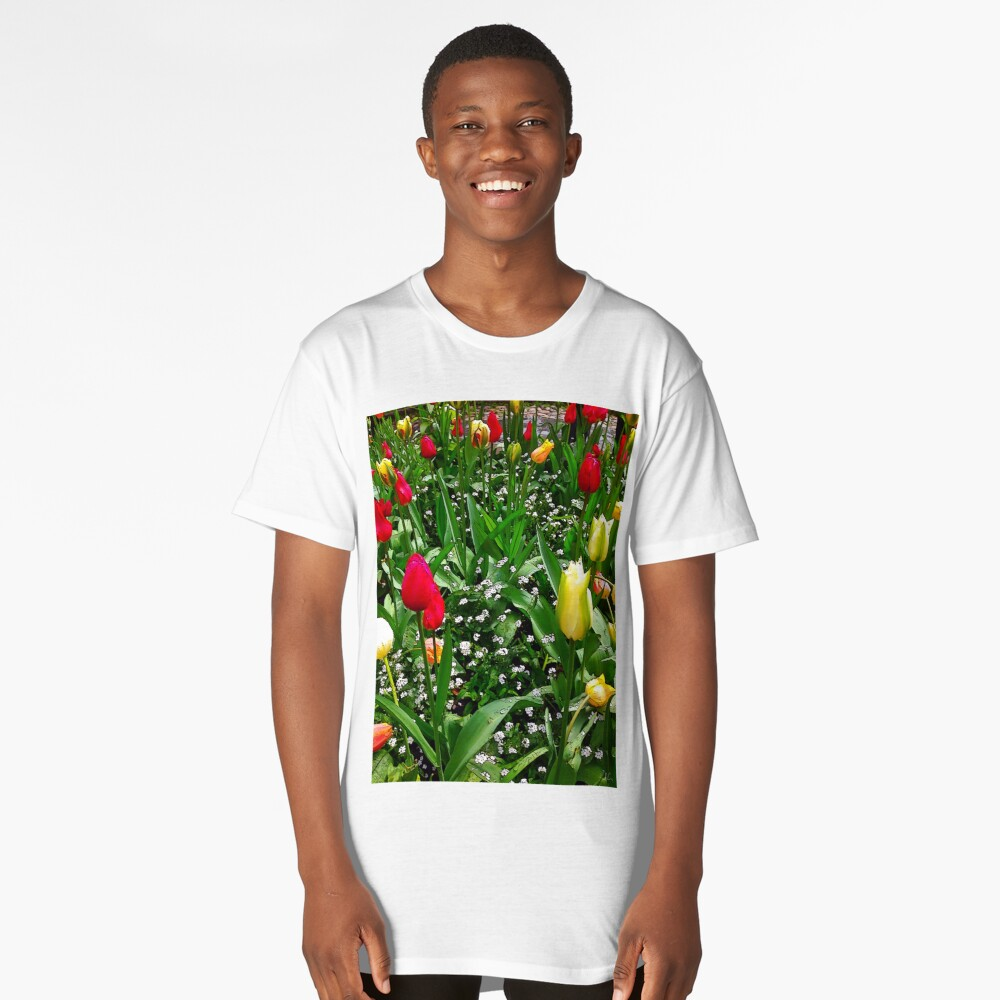 """""""Flower Bed of Beauty"""", Photo / Digital Painting Long T-Shirt Front"""