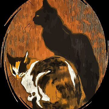 Two Cats Vector After Steinlen Zwei Katzen by taiche