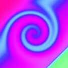 Bright Pink Turquoise Swirl Abstract by donnagrayson