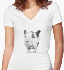 Formal Piglet Women's Fitted V-Neck T-Shirt