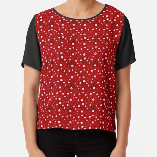 Cherry Blossom Season in Red and Pink Chiffon Top