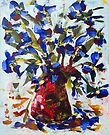 Blue Flowers in Vase - Acrylic by Paul Gilbert