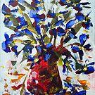 Blue Flowers in Vase - Acrylic by Paul Gilbert