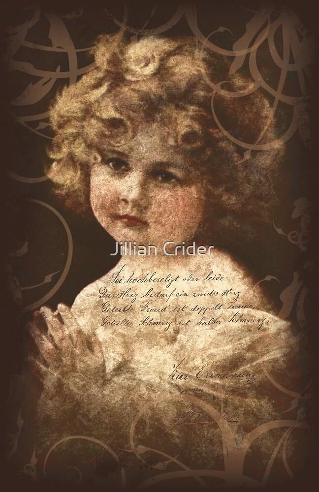 Vintage Photo Cute Little Girl Graphic German Writing by Jillian Crider