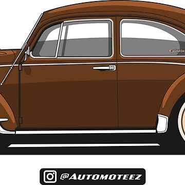 Classic Brown Bug Unisex T-shirt for Men Women German Car Clothing Gift by Automoteez