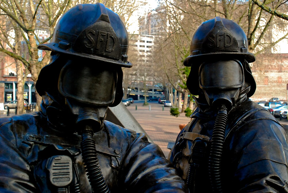 Seattle Fire Department Statue - Downtown Seattle, Washington by Mike Truong