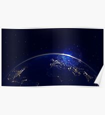 Planet earth with sunrise in space and city lights Poster