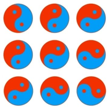 Yin Yang Art Pattern Decor Yellow Blue Red by MenegaSabidussi