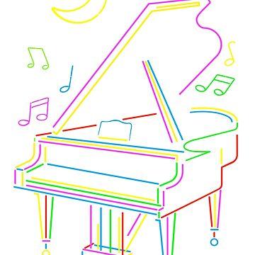 Neon Piano by TeeShow