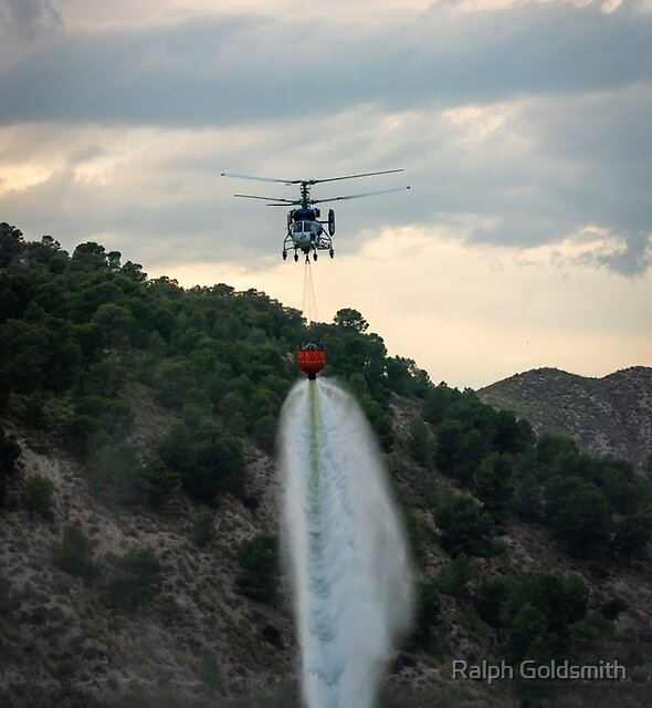 Fire Fighter Helicopter dropping water by Ralph Goldsmith