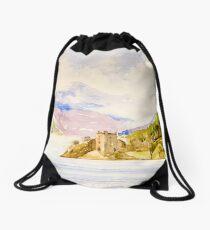 Urquhart Castle on Loch Ness, Scotland Drawstring Bag