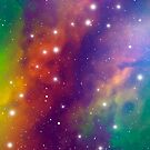 Colorful Outer Space Cosmic Pattern by Veronika Bychkova