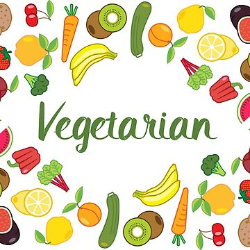 Colourful Vegetarian Fruit and Vegetable Illustration Pattern by HotHibiscus