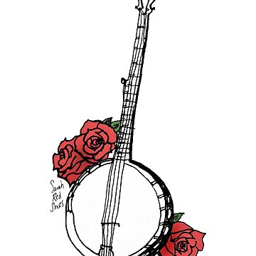 Hipster Banjo & Roses by SarahRedShoes