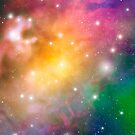 Colorful  Cosmic Outer Space Pattern by Veronika Bychkova
