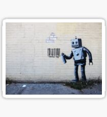 Banksy smiling Robot and barcodes Better Out Than In New York City residency on brick wall Sticker
