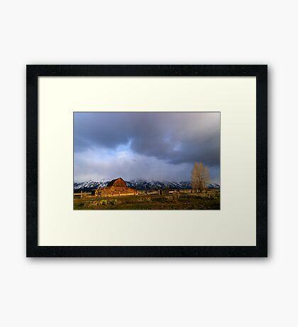 Moulton Barn, Mormon Row - Teton Sunrise - Wide Framed Print