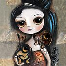 Doll with black hair and big eyes with two dachshunds by margherita arrighi