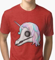 My Little Dead Unicorn | Unicorn Skull | Pastel Rainbow Tri-blend T-Shirt