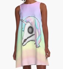 My Little Dead Unicorn | Unicorn Skull | Pastel Rainbow A-Line Dress