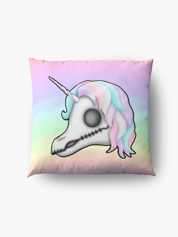 Alternate view of  My Little Dead Unicorn | Unicorn Skull | Pastel Rainbow Floor Pillow