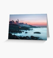 Coastline with sunset sky relaxing peaceful landscape and foggy water Greeting Card