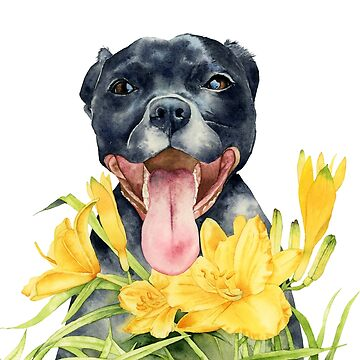 Joy | Pit Bull Dog and Daylily Watercolor Painting by namibear