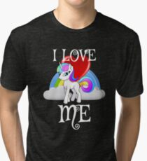 I Love Me for People or yourself Shirt Unicorn Rainbow Gift Tri-blend T-Shirt