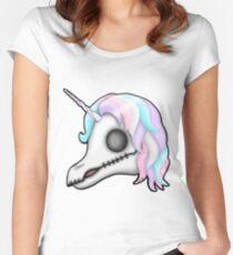 My Little Dead Unicorn | Rainbow Unicorn Skull | White Fitted Scoop T-Shirt
