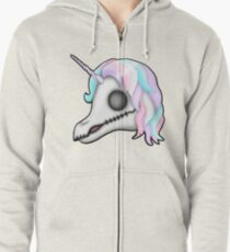 My Little Dead Unicorn | Rainbow Unicorn Skull | White Zipped Hoodie