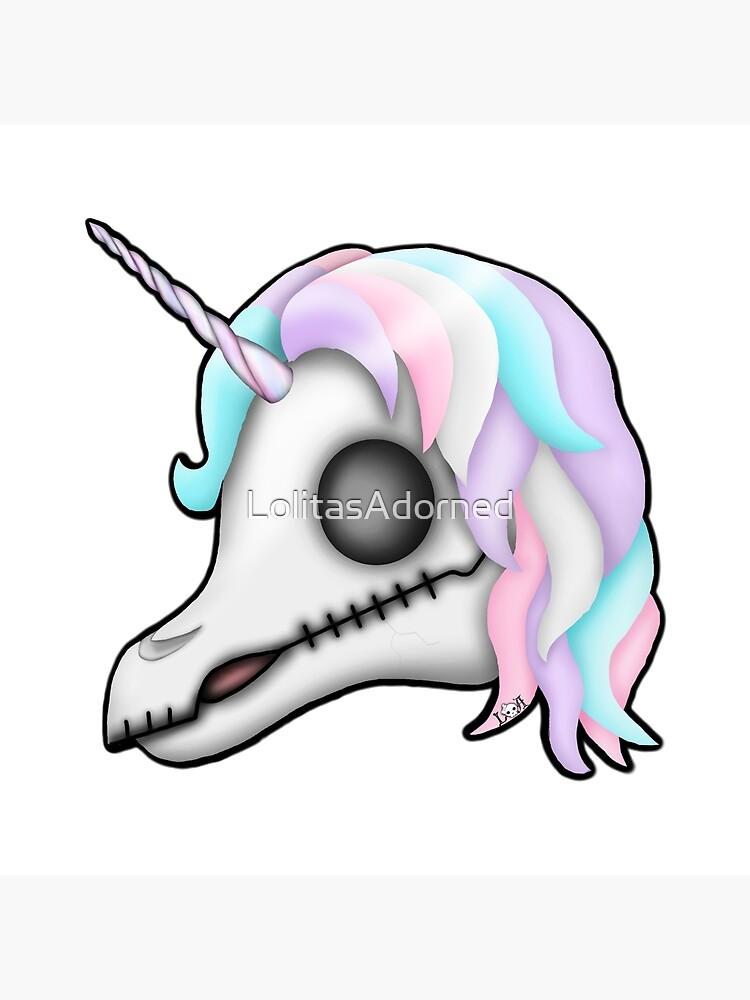 My Little Dead Unicorn   Rainbow Unicorn Skull   White by LolitasAdorned