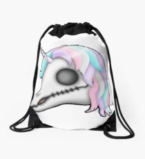 My Little Dead Unicorn | Rainbow Unicorn Skull | White Drawstring Bag