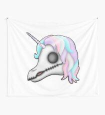 My Little Dead Unicorn | Rainbow Unicorn Skull | White Wall Tapestry