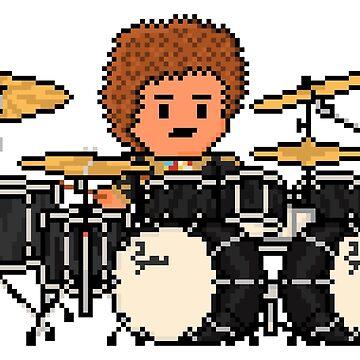 Rock Battle Pixel Double Bass Classic Drummer by gkillerb