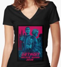 Detroit Become Human 2038 Women's Fitted V-Neck T-Shirt
