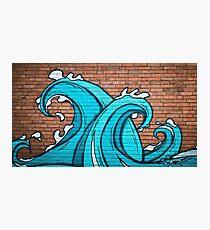 Graffiti blue wave cyan on brick wall cartoon style Photographic Print