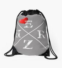 Heart, love, love, cross, scripture, word Drawstring Bag
