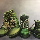 Green work boots by Michael Arnold