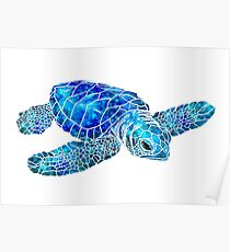 Sea Turtle Watercolor Art Poster