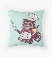 Overcooked Wheelchair Raccoon Chef Throw Pillow